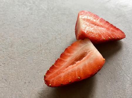Cut Strawberry on Board