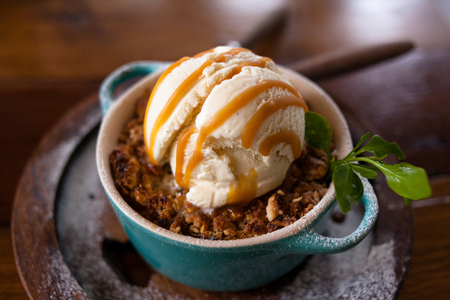 apple crumble dessert with ice cream Stock Photo