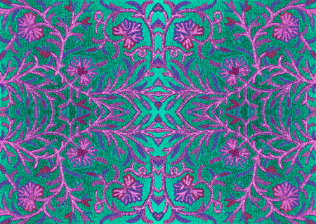 oriental rug: Bright embroidered coat pattern on the fabric, Asia