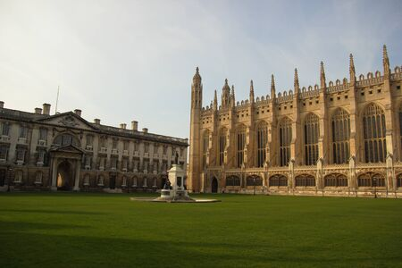university fountain: King´s College Chapel, Cambridge, England, United Kingdom