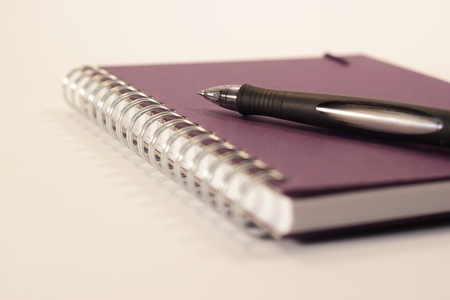 A purple ring binder with a pen
