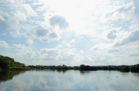 Lake landscape with a cloudy sky