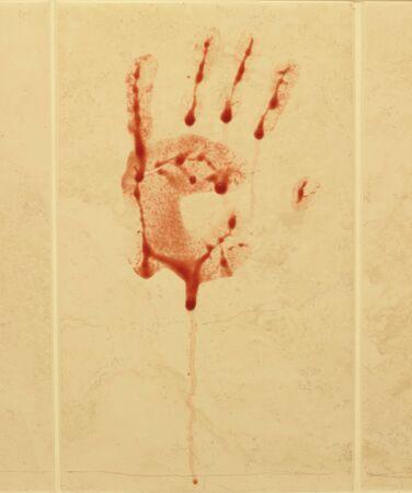 irrespeto: Impresión de la mano con sangre