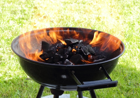 BBQ grill with hot fire