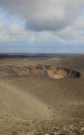 Crater in Timanfaya National Park, Lanzarote Stock Photo