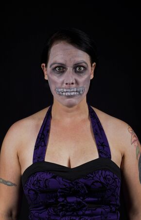 A woman with makeup for halloween - Skeleton Stock Photo