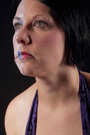 A woman with makeup for halloween - Two Face Stock Photo - 16549601