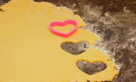Cookie dough with heart forms