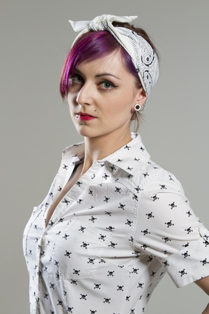 Young woman in Rockabilly style  photo