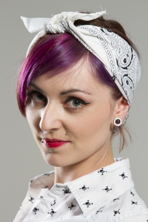 red bandana: Young woman in Rockabilly style  Stock Photo