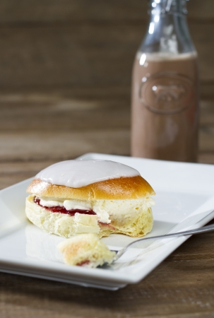 British Cream Bun Stock Photo