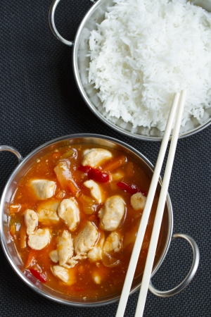 Chinese sweet and sour with rice Stock Photo