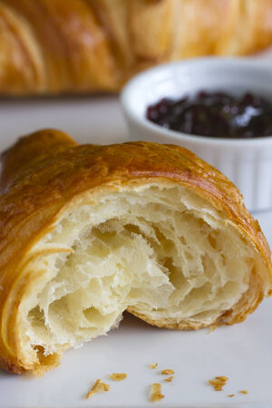 Croissant and jam Stock Photo