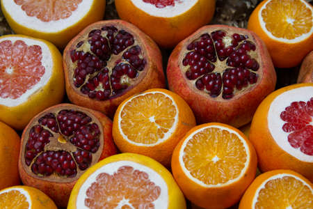 감귤류의 과일: Citrus fruits at the market 스톡 사진