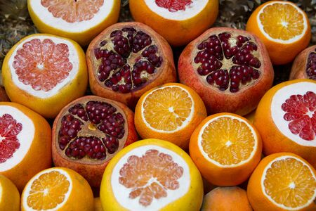 Citrus fruits at the market Stock Photo
