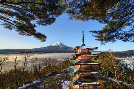 Chureito Pagoda and Mt. Fuji background,Fujiyoshida,Japan,The famou Japan landmark with mt fuji background,Autumn season in Japan.