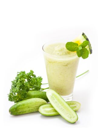 green vegetable: Green vegetable juice smoothie with cucumber.