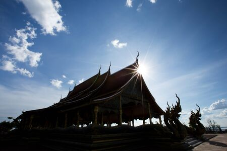 spiritual architecture: Silhouette of temple historic site sacred for worship. Stock Photo