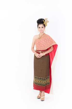 Asian woman wearing typical thai dress, identity culture of Thailand.