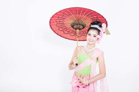 lanna: Asian woman wearing Thailand Lanna series, identity culture of Thailand. Stock Photo