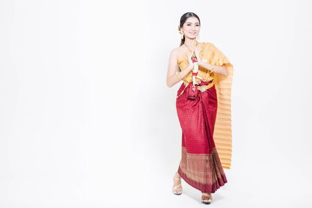 Asian woman wearing Thailand Lanna series, identity culture of Thailand.