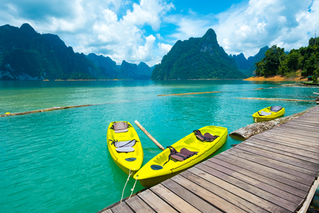 Kayak for rent in the water at a resort. Stock Photo