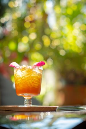 Thai organic herbal drink with ice in glass is natural product for health
