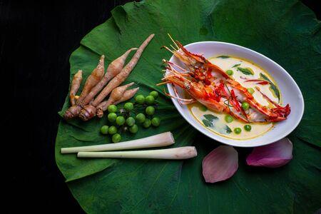 op view of Thai food and ingredient on lotus leaf.