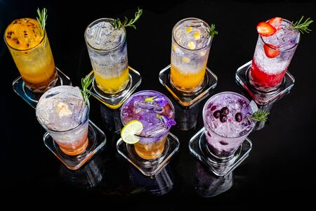 Herbal mixed cold drink On a black background