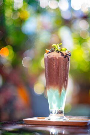 mint and chocolate milkshake with whipped cream Stock fotó
