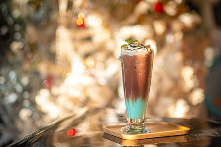 mint and chocolate milkshake with whipped cream Stock Photo