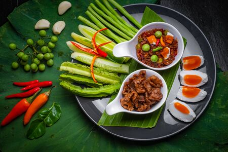 Thai food, Kaw Cook Kapee with shrimp paste and eat with fresh vegetables, egg, sweet pork and more Stock fotó