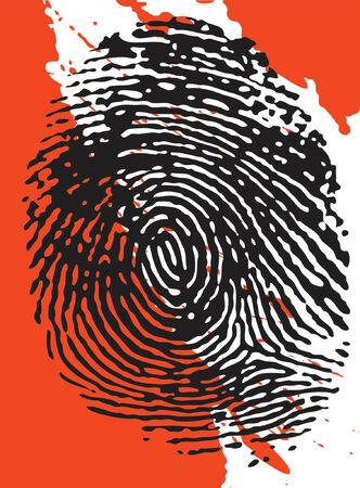 Vector - Fingerprint overlay op een bloed spetterde achtergrond