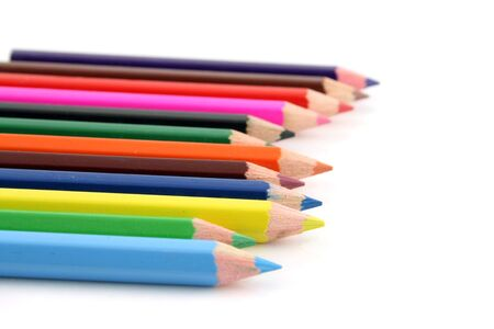Colored pencils on a white background with a shallow DOF Banco de Imagens