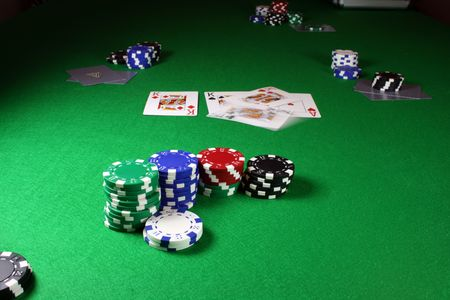 Quad Kings - Action shot on a poker table - Kings begin thrown onto the 3 flopped cards Banco de Imagens