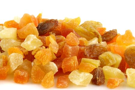Close up of Dried Summer fruits on a white background Banco de Imagens - 746514