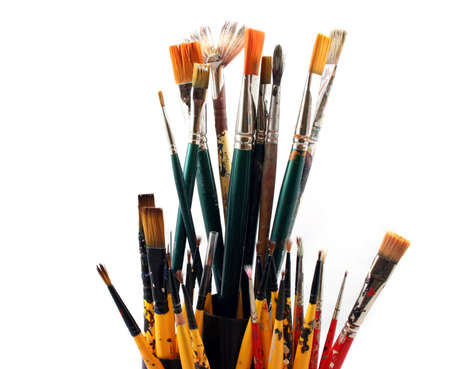 Paint brushes  on a white Background  Banco de Imagens