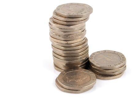 Stacks of Money on a white Background  Banco de Imagens