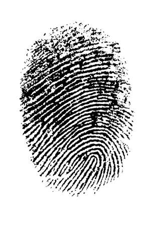 fingermark: Single black Thumbprint - simple monochrome image