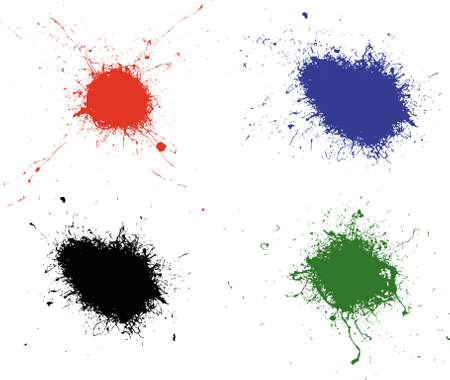 4 Colored Splats Banco de Imagens