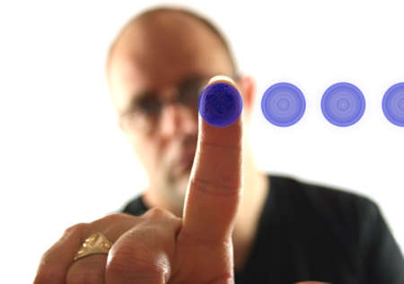 fingermark: Man Pressing Button - showing fingerprint on button