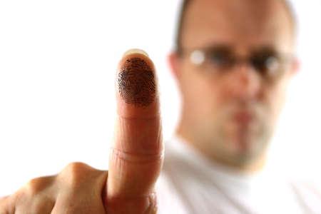 Man activating a biometric area using his finger Banco de Imagens - 938720