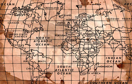 hi resolution: Hi imagen de la resoluci�n del mapa del mundo en un fondo grungy