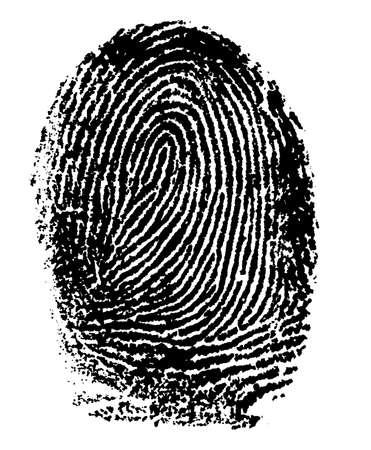 authenticate: Single black fingerprint - simple monochrome image