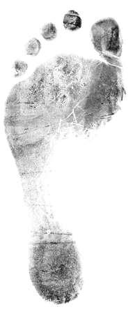 Single black footrprint - simple monochrome image  photo