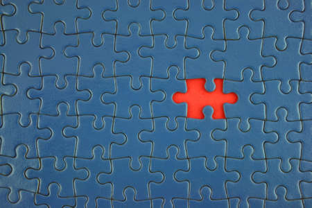 Close up of a Blue Jigsaw with missing piece Imagens - 1091194