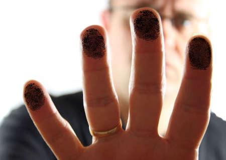 Man Pressing on Glass leaving fingerprints