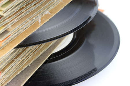 Close up of old Vinyl Records - focus on the record photo