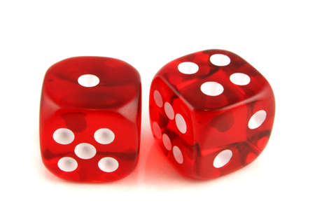 exploit: 2 Dice close up -  showing the numbers 1 and 4  Stock Photo