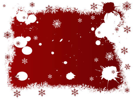 Border of snowflakes on a Red background with Copyspace Stock Vector - 1876556